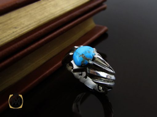 انگشتر فیروزه نیشابوری مردانه اصل و معدنی - کد 8395 - 8395 510x383