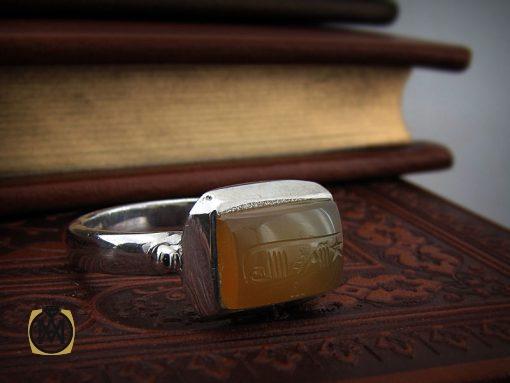 انگشتر عقیق یمن با حکاکی شرف الشمس استاد ضابطی دست ساز - کد 8468