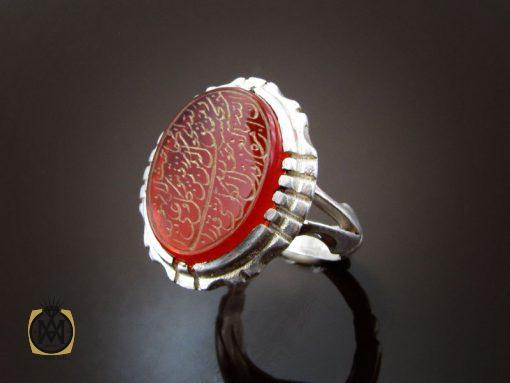 انگشتر عقیق قرمز مردانه با حکاکی ومن یتق الله - کد 8652 - 00 103 510x383
