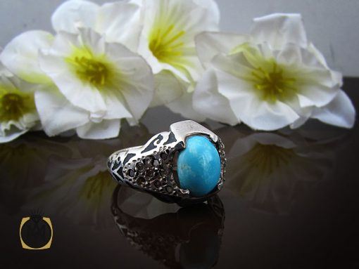 انگشتر فیروزه نیشابور مردانه خوش رنگ - کد 8680 - 00 141 510x383