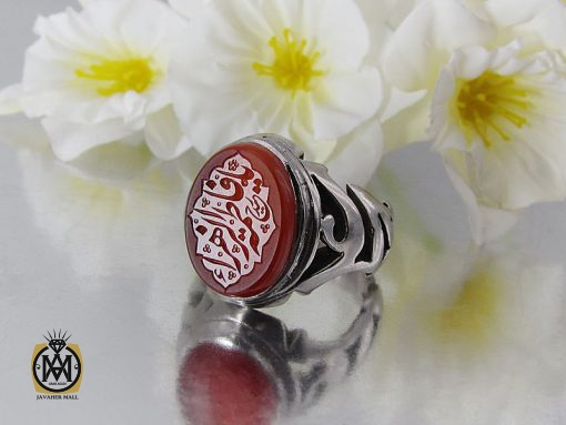 انگشتر عقیق یمن مردانه با حکاکی یا فاطمه الزهرا استاد حیدر - کد 8602 - 00 20 510x383