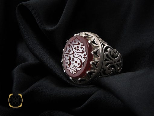 انگشتر عقیق یمن مردانه با حکاکی یا حسین ثارالله استاد حیدر - کد 8603 - 00 21 510x383