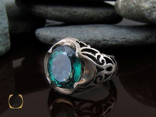 انگشتر توپاز سبز مردانه خوش رنگ و طبیعی - کد 8741 - 00 220 510x383