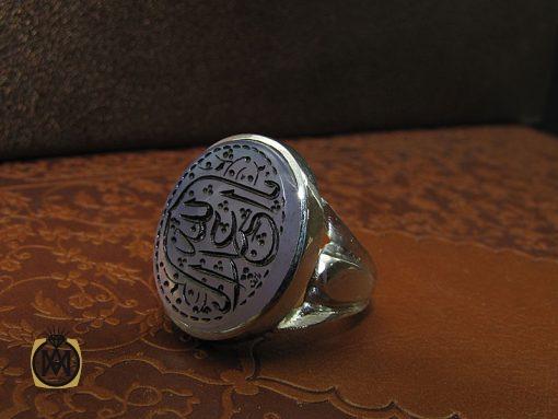 انگشتر عقیق یمن کبود با حکاکی یا اباعبدالله مردانه دست ساز – کد ۸۷۷۸