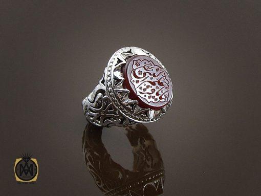انگشتر عقیق یمن مردانه با حکاکی یا باقر علم النبی استاد حیدر - کد 8590 - 00 8 510x383