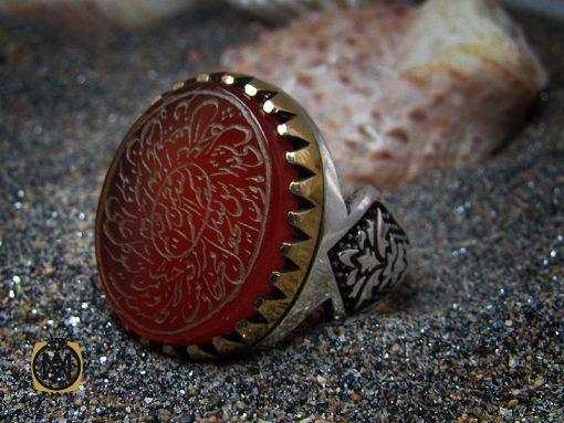 انگشتر عقیق قرمز مردانه با حکاکی ومن یتق الله - کد 8635 - 00 87 510x383