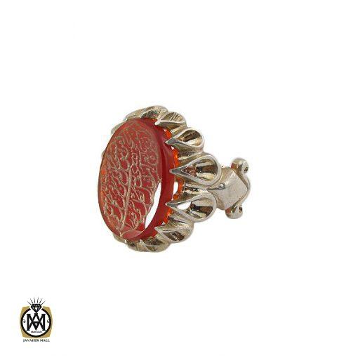 انگشتر عقیق قرمز مردانه با حکاکی ومن یتق الله - کد 8650 - 1 118 510x510