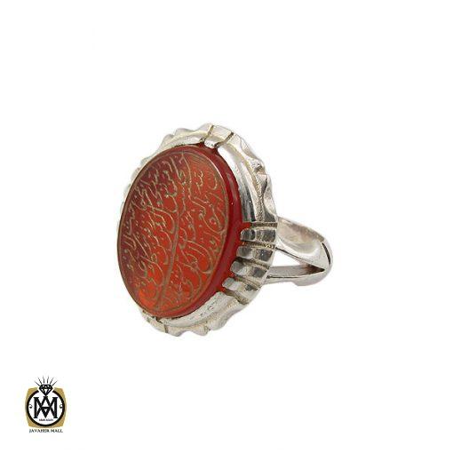 انگشتر عقیق قرمز مردانه با حکاکی ومن یتق الله - کد 8652 - 1 120 510x510