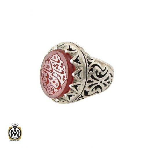 انگشتر عقیق یمن مردانه با حکاکی یا حسین ثارالله استاد حیدر - کد 8603 - 1 21 510x510