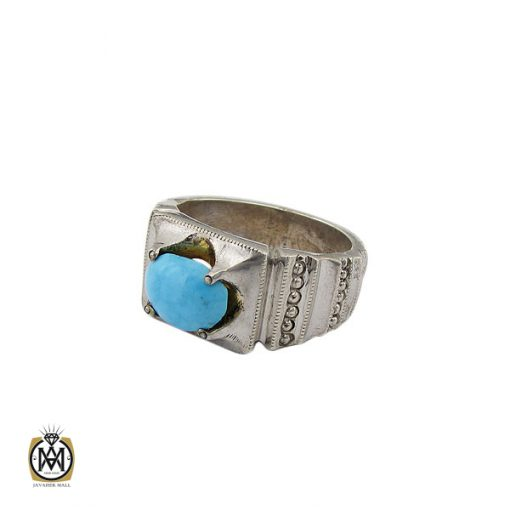 انگشتر فیروزه نیشابوری مردانه هنر دست استاد شرفیان - کد 8764 - 1 281 510x510