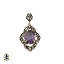 مدال آمتیست زنانه اصل و معدنی طرح ارمغان - کد 3316 - 1 90 247x247