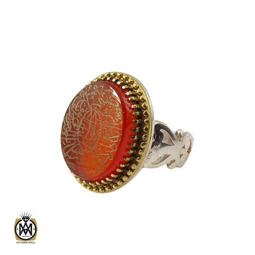 انگشتر عقیق قرمز مردانه با حکاکی وان یکاد - کد 8628 - 1 97 510x510