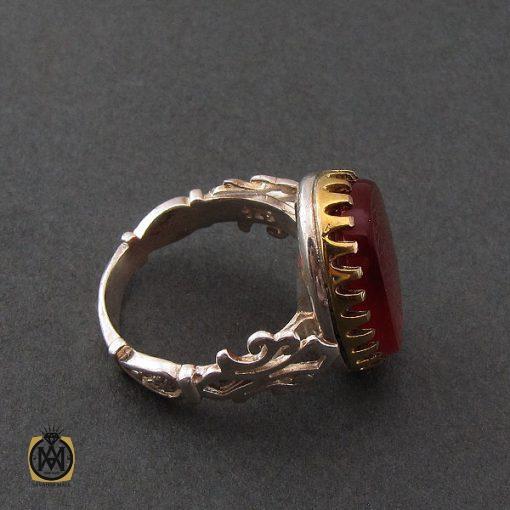 انگشتر عقیق قرمز مردانه با حکاکی وان یکاد - کد 8634 - 2 103 510x510