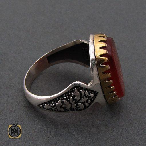 انگشتر عقیق قرمز مردانه با حکاکی ومن یتق الله - کد 8635 - 2 104 510x510