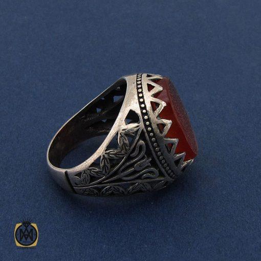 انگشتر عقیق قرمز مردانه با حکاکی ومن یتق الله - کد 8649 - 2 117 510x510