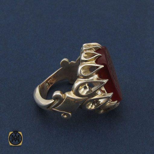 انگشتر عقیق قرمز مردانه با حکاکی ومن یتق الله - کد 8650 - 2 118 510x510
