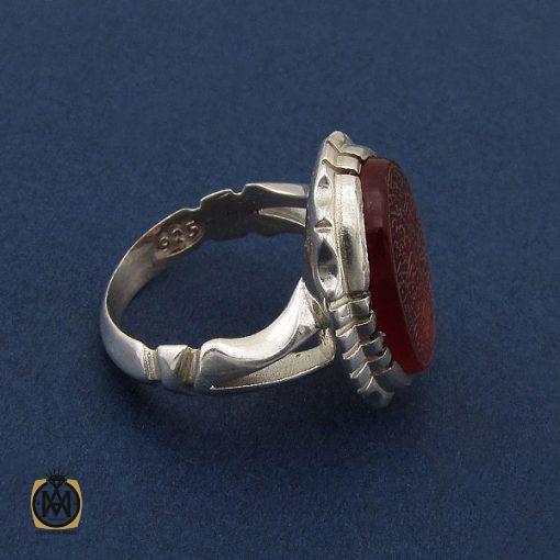 انگشتر عقیق قرمز مردانه با حکاکی ومن یتق الله - کد 8652 - 2 120 510x510