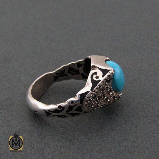 انگشتر فیروزه نیشابور مردانه خوش رنگ - کد 8680 - 2 165 510x510