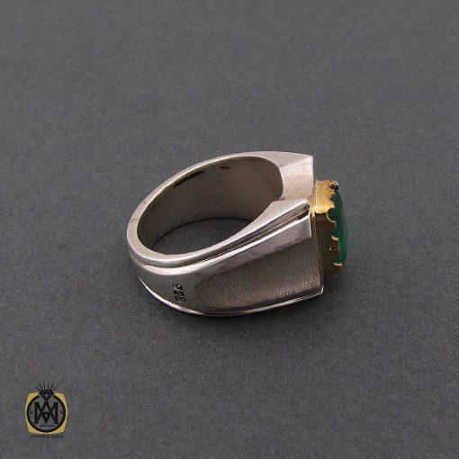 انگشتر زمرد زامبیا مردانه لوکس و معدنی - کد 8585