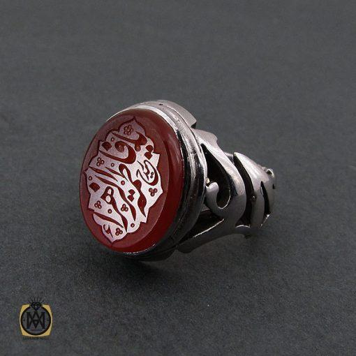 انگشتر عقیق یمن مردانه با حکاکی یا فاطمه الزهرا استاد حیدر - کد 8602 - 2 20 510x510