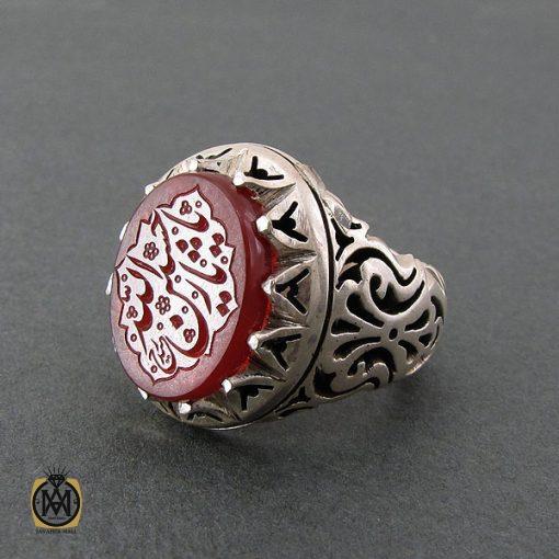 انگشتر عقیق یمن مردانه با حکاکی یا حسین ثارالله استاد حیدر - کد 8603 - 2 21 510x510