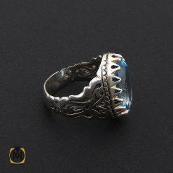 انگشتر توپاز آبی درشت مردانه خوش رنگ - کد 8736