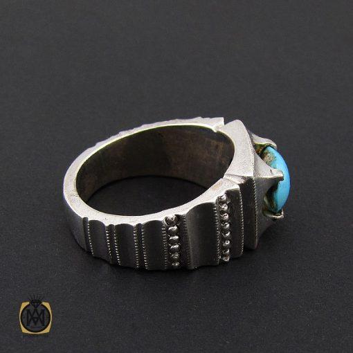 انگشتر فیروزه نیشابوری مردانه هنر دست استاد شرفیان - کد 8764 - 2 281 510x510