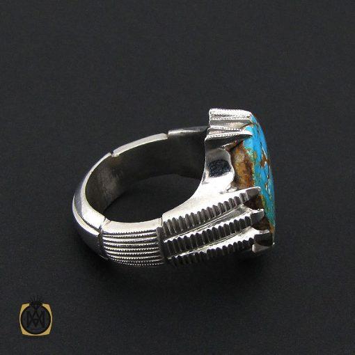 انگشتر فیروزه نیشابوری درشت مردانه هنر دست استاد شرفیان - کد 8768 - 2 285 510x510
