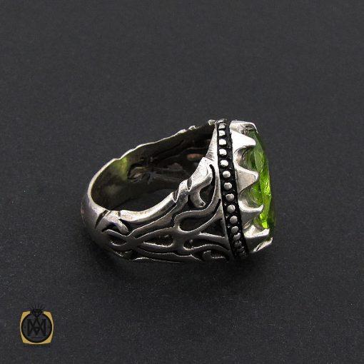 انگشتر زبرجد مردانه خوش رنگ و معدنی – کد 8790