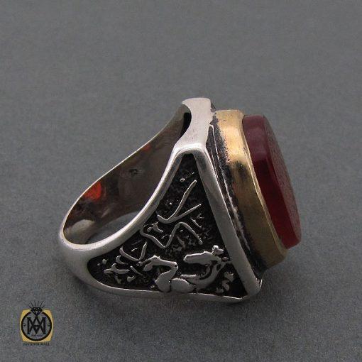 انگشتر عقیق قرمز مردانه با حکاکی ومن یتق الله - کد 8626 - 2 95 510x510