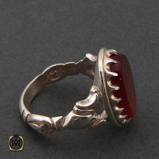 انگشتر عقیق قرمز مردانه با حکاکی ومن یتق الله - کد 8627 - 2 96 510x510