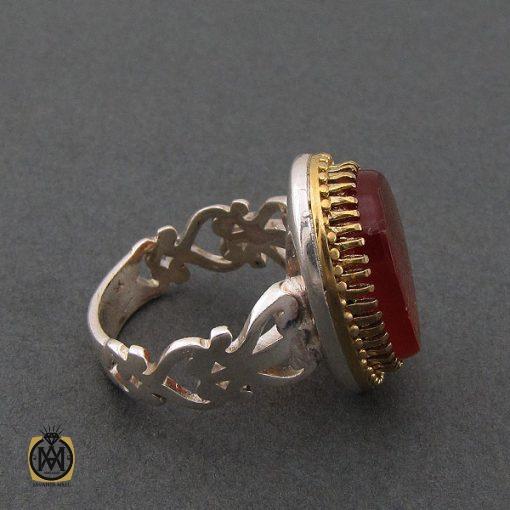 انگشتر عقیق قرمز مردانه با حکاکی وان یکاد - کد 8628 - 2 97 510x510