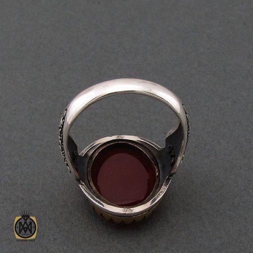 انگشتر عقیق قرمز مردانه با حکاکی ومن یتق الله - کد 8635 - 3 103 510x510