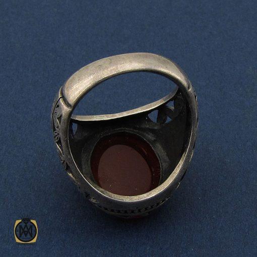 انگشتر عقیق قرمز مردانه با حکاکی ومن یتق الله - کد 8649 - 3 116 510x510