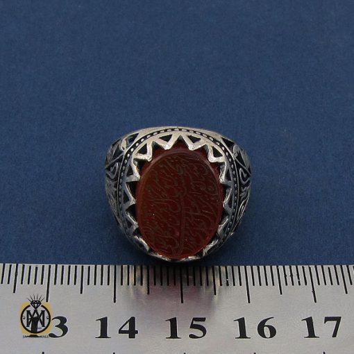 انگشتر عقیق قرمز مردانه با حکاکی ومن یتق الله - کد 8649 - 4 117 510x510