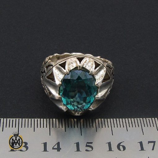 انگشتر توپاز سبز مردانه خوش رنگ - کد 8737