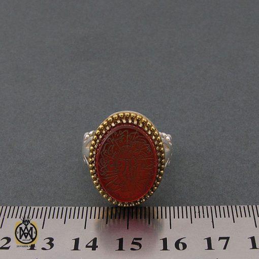 انگشتر عقیق قرمز مردانه با حکاکی وان یکاد - کد 8628 - 4 97 510x510
