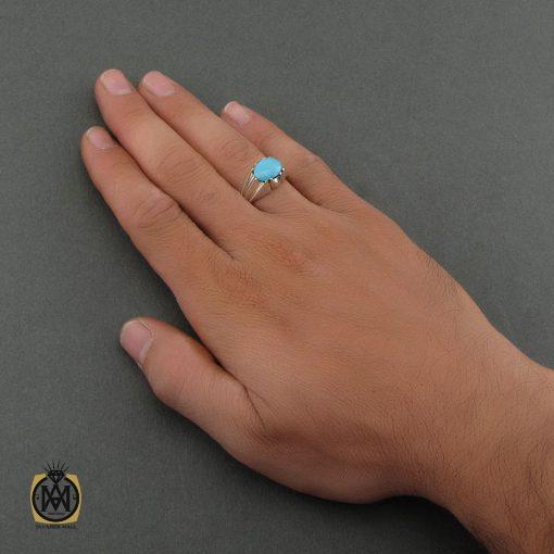 انگشتر فیروزه نیشابوری مردانه خوش رنگ و فاخر - کد 8678 - 5 105 510x510