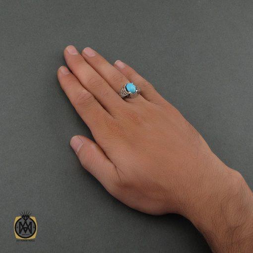 انگشتر فیروزه نیشابور مردانه خوش رنگ - کد 8680 - 5 107 510x510