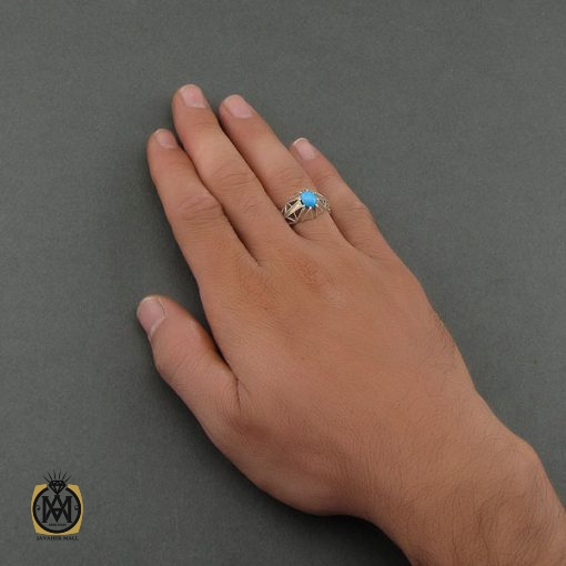 انگشتر فیروزه نیشابور مردانه خوش رنگ – کد ۸۶۸۲