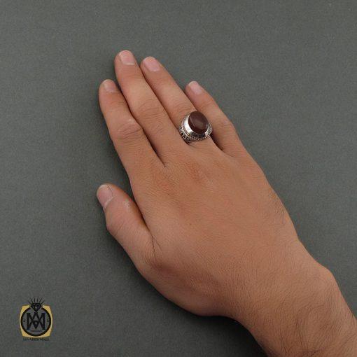 انگشتر عقیق یمن مردانه دست ساز - کد 8711