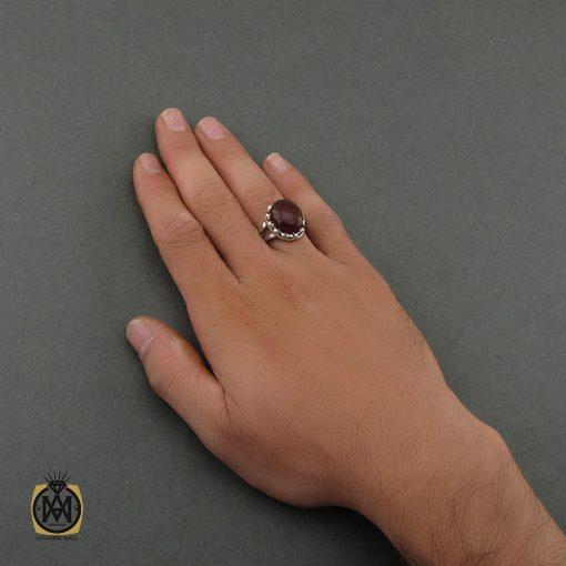 انگشتر عقیق یمن مردانه خوش رنگ و دست ساز - کد 8712 - 5 138 510x510