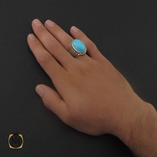 انگشتر فیروزه دامغان مردانه درشت – کد ۸۷۱۵