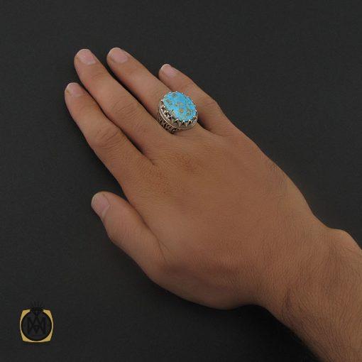 انگشتر فیروزه نیشابوری مردانه درشت و با کیفیت - کد 8719 - 5 147 510x510