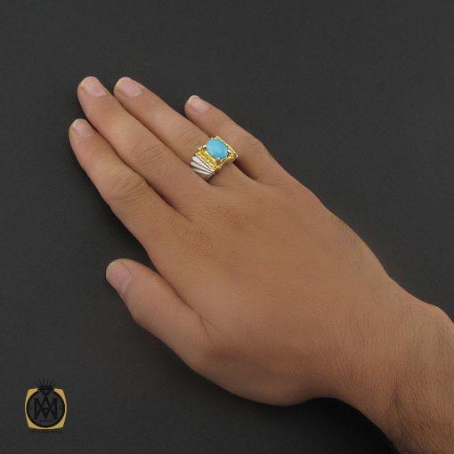 انگشتر فیروزه نیشابوری خوش طبع مردانه هنر دست استاد زارعی - کد 8720 - 5 148 510x510