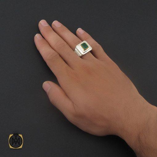 انگشتر زمرد زامبیا مرغوب مردانه هنر دست استاد باقرزاده - کد 8733