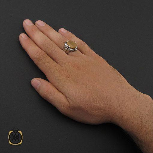 انگشتر یاقوت زرد آفریقایی مردانه دست ساز – کد ۸۷۴۷