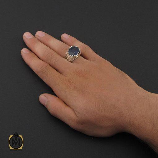 انگشتر یاقوت کبود آفریقایی مردانه طرح صفوی دست ساز - کد 8748 - 5 193 510x510