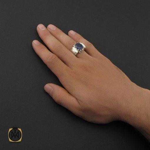 انگشتر یاقوت کبود آفریقایی مردانه هنر دست استاد باقرزاده - کد 8749 - 5 194 510x510