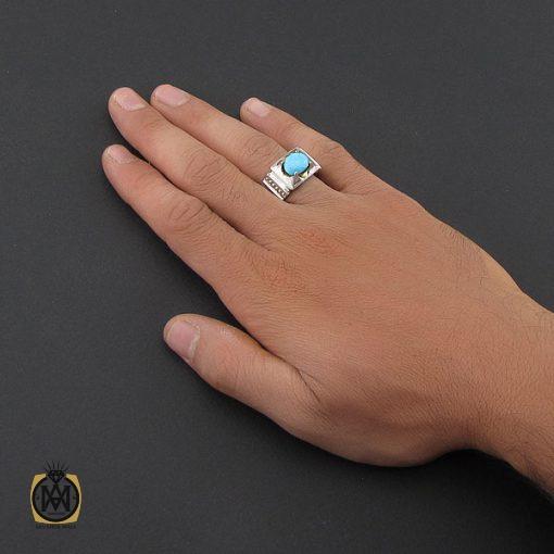 انگشتر فیروزه نیشابوری مردانه هنر دست استاد شرفیان - کد 8764 - 5 209 510x510